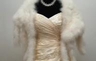 kérmszínű menyasszonyi ruha bundával